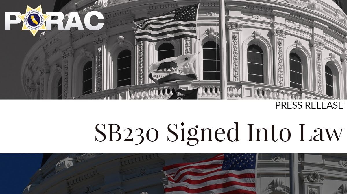 SB-230 Signed Into Law - PORAC Press Release